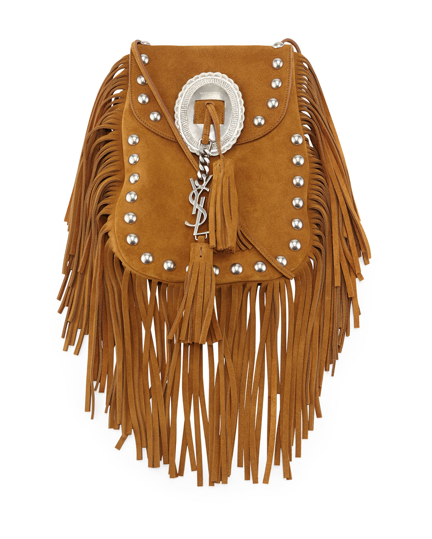 cf1d9ba875fd Lyst - Saint Laurent Anita Small Suede Bag in Brown