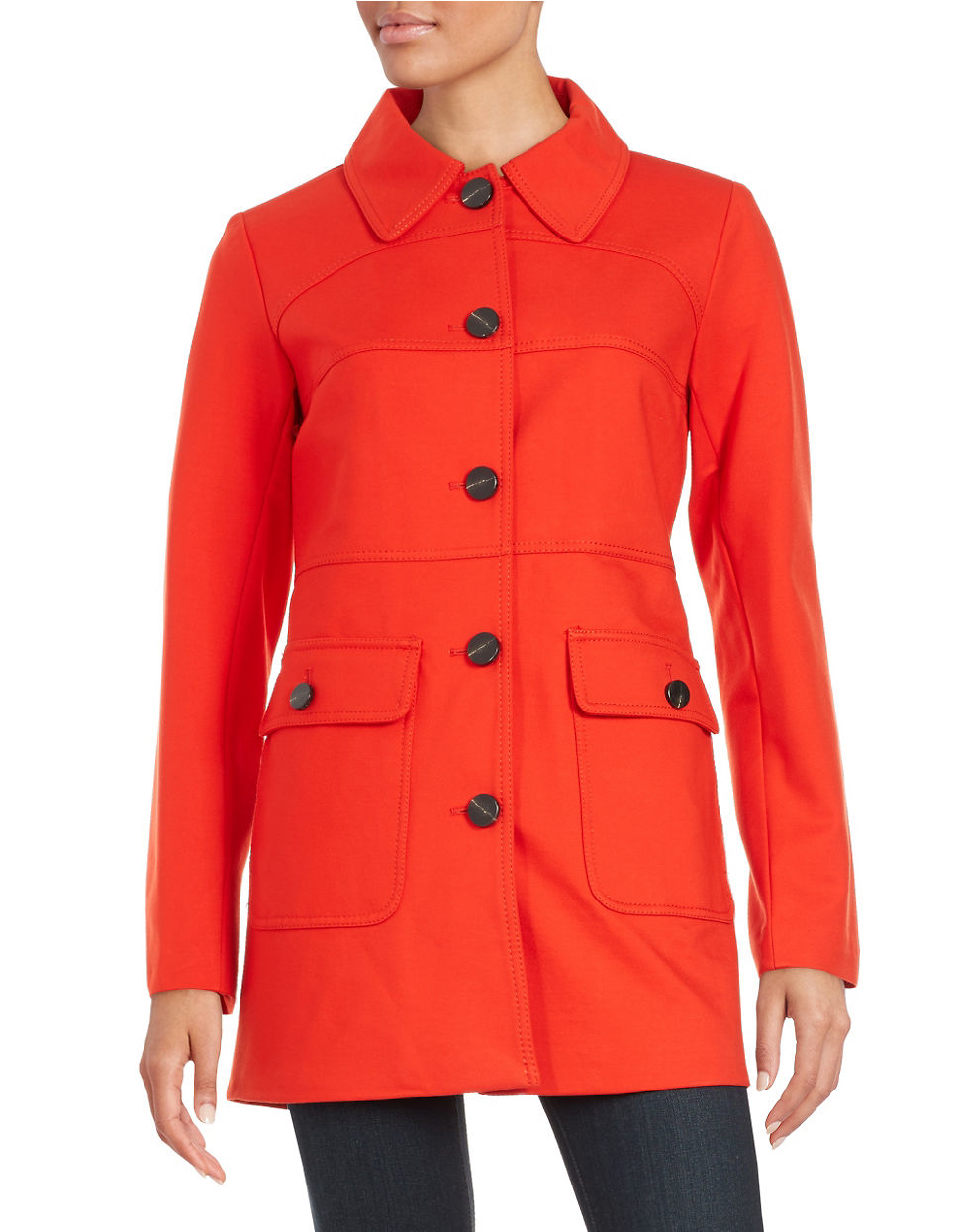 Vince camuto Button-down Car Coat in Red | Lyst