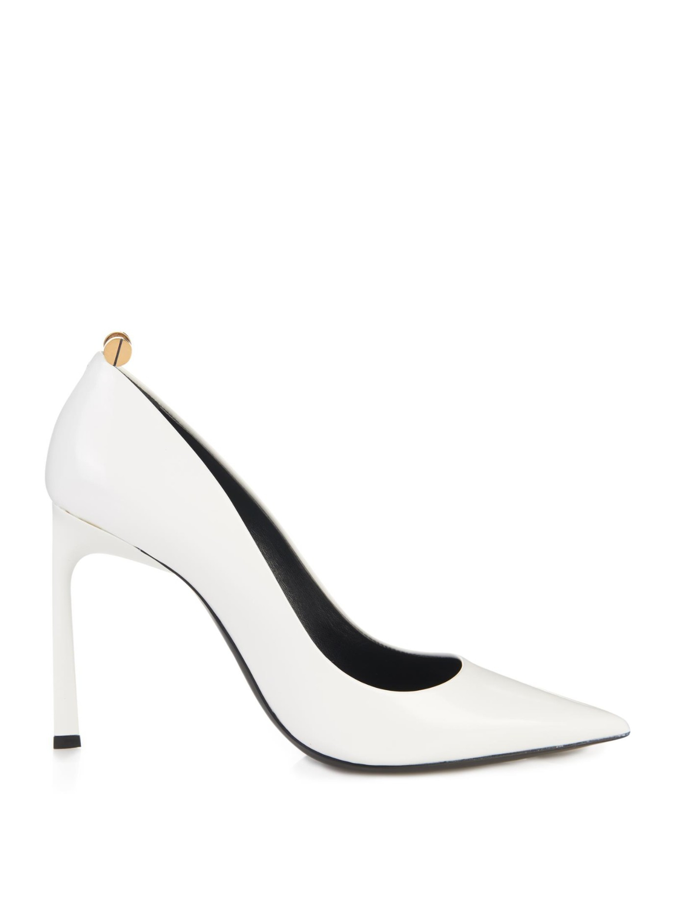 84a80ef046b7 Lyst - Lanvin Screw-Detail Leather Pumps in White