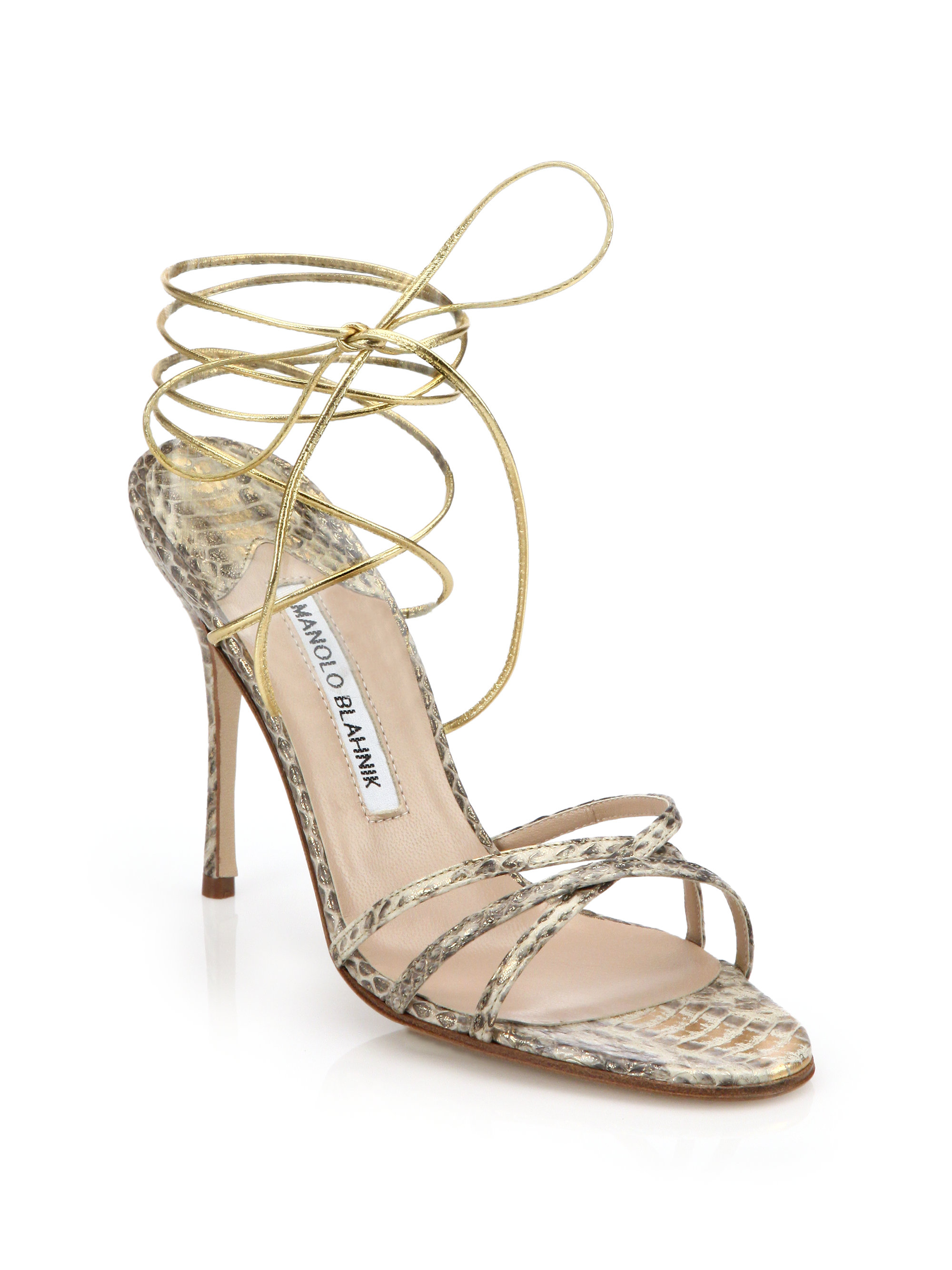 cheap popular Manolo Blahnik Snakeskin Cage Sandals free shipping for sale for sale cheap real with mastercard sale online AKJ0K