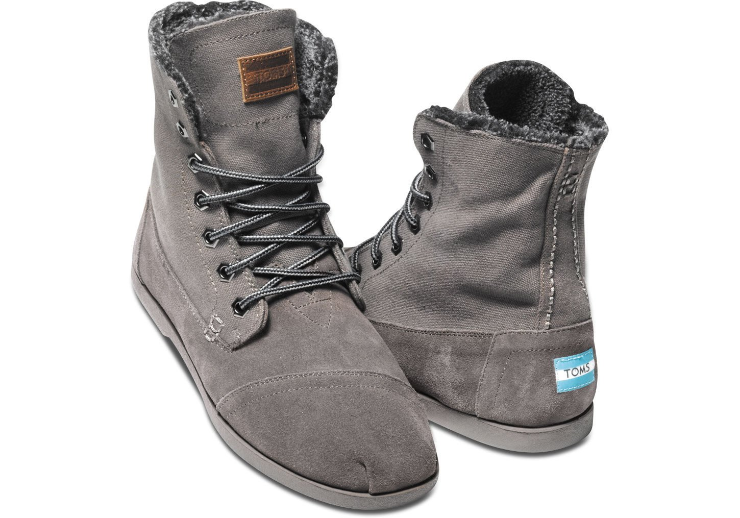 Lyst Toms Ash Canvas Suede Utility Boot In Gray For Men