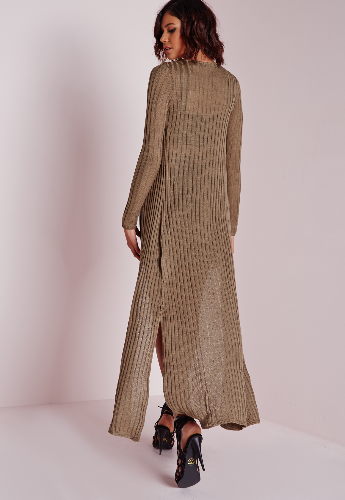 Missguided Maxi Knitted Side Split Cardigan Taupe in Natural | Lyst