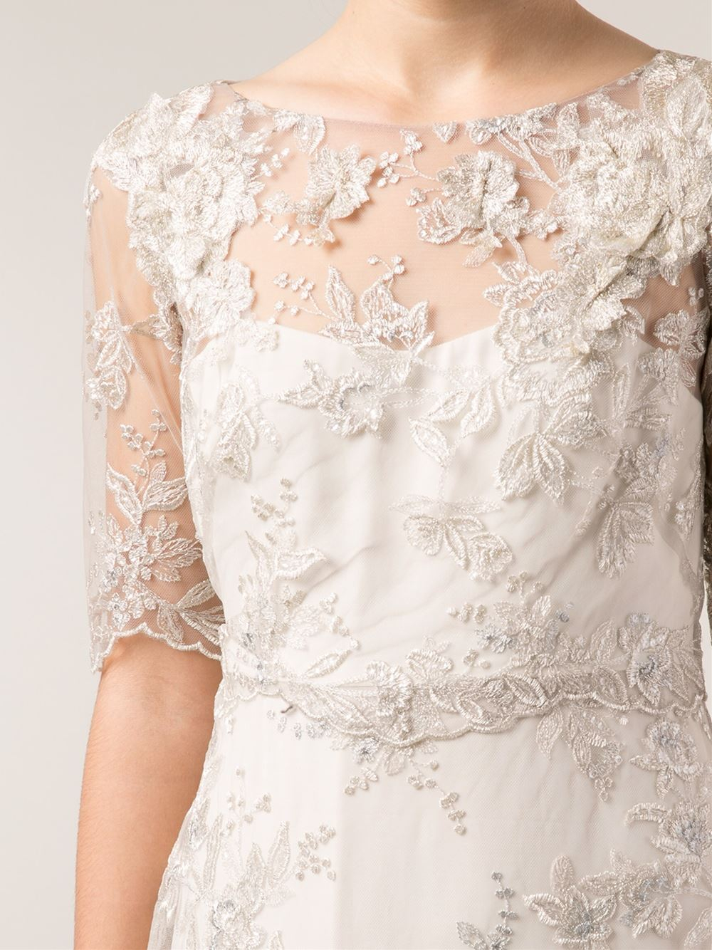 e8c383fa Marchesa notte Embroidered Lace Gown in Metallic - Lyst