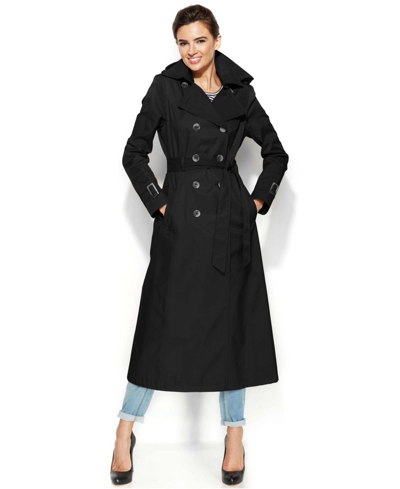 Dkny Hooded Double-Breasted Maxi Trench Coat in Black