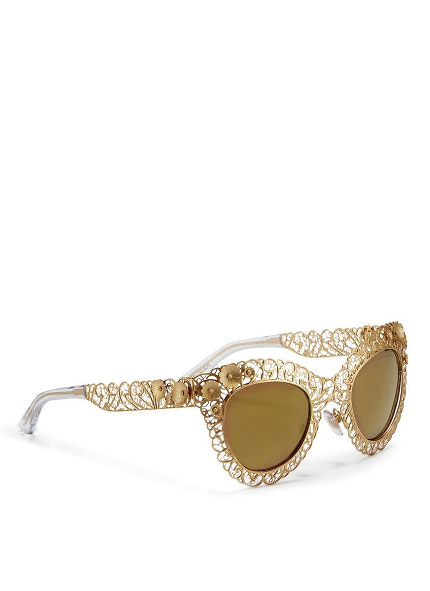 Acetato metálico espejo Gold gato ojo gafas con de Gabbana y Dolce de de sol vvqBrHgU