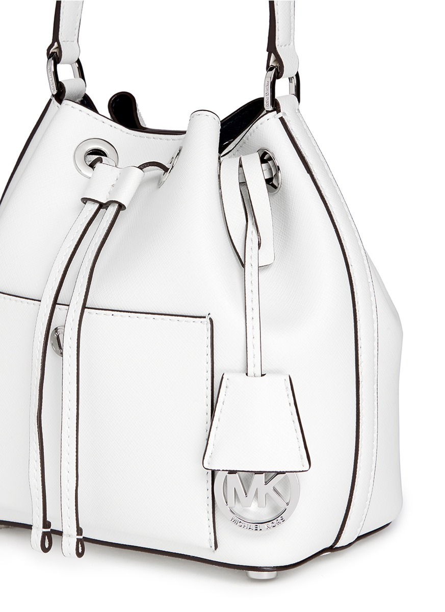 b85814758097 Michael Kors 'greenwich' Small Saffiano Leather Bucket Bag in White ...