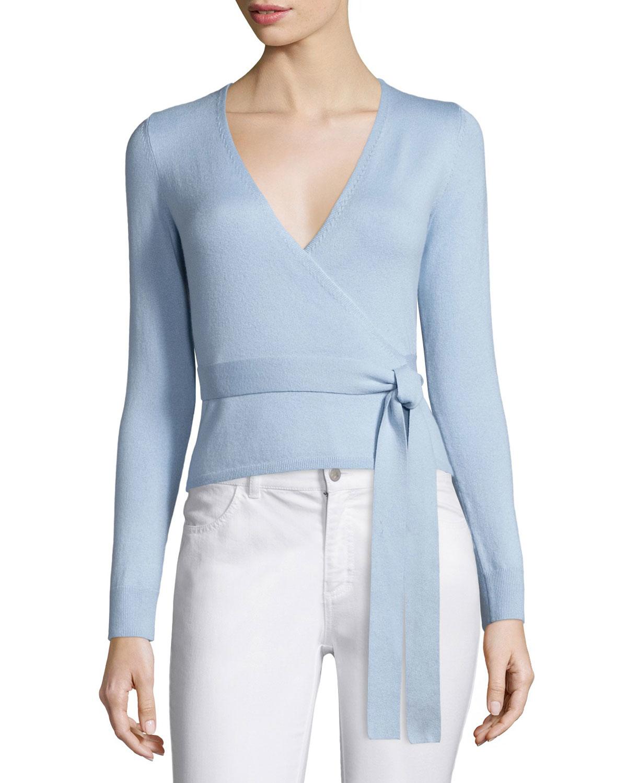 Diane von furstenberg Silk-blend Ballerina Wrap Sweater in Blue | Lyst