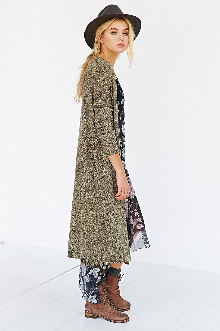 Silence   noise Open-Front Maxi Cardigan in Green | Lyst