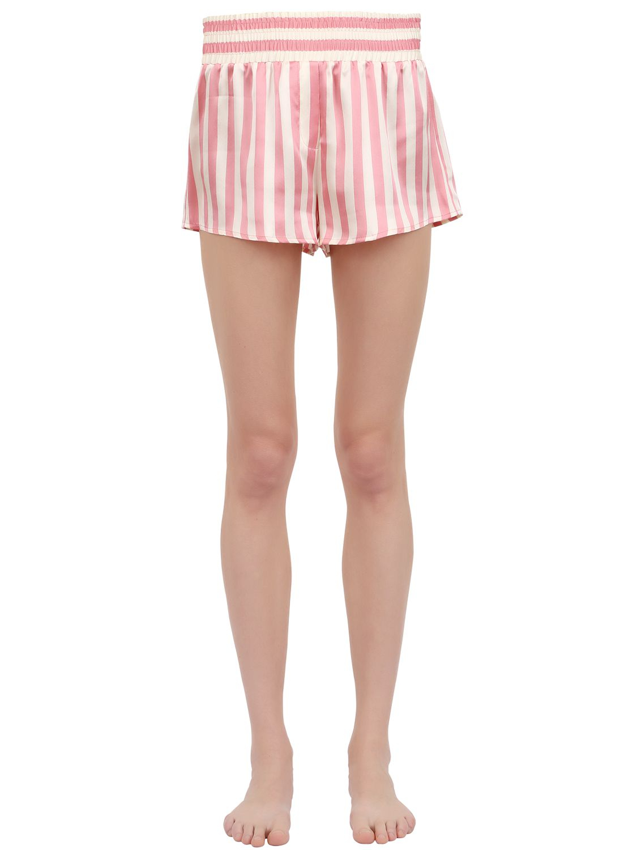 Lyst - Morgan Lane Corey Striped Silk Satin Pajama Shorts in Pink 0b0b7a79e