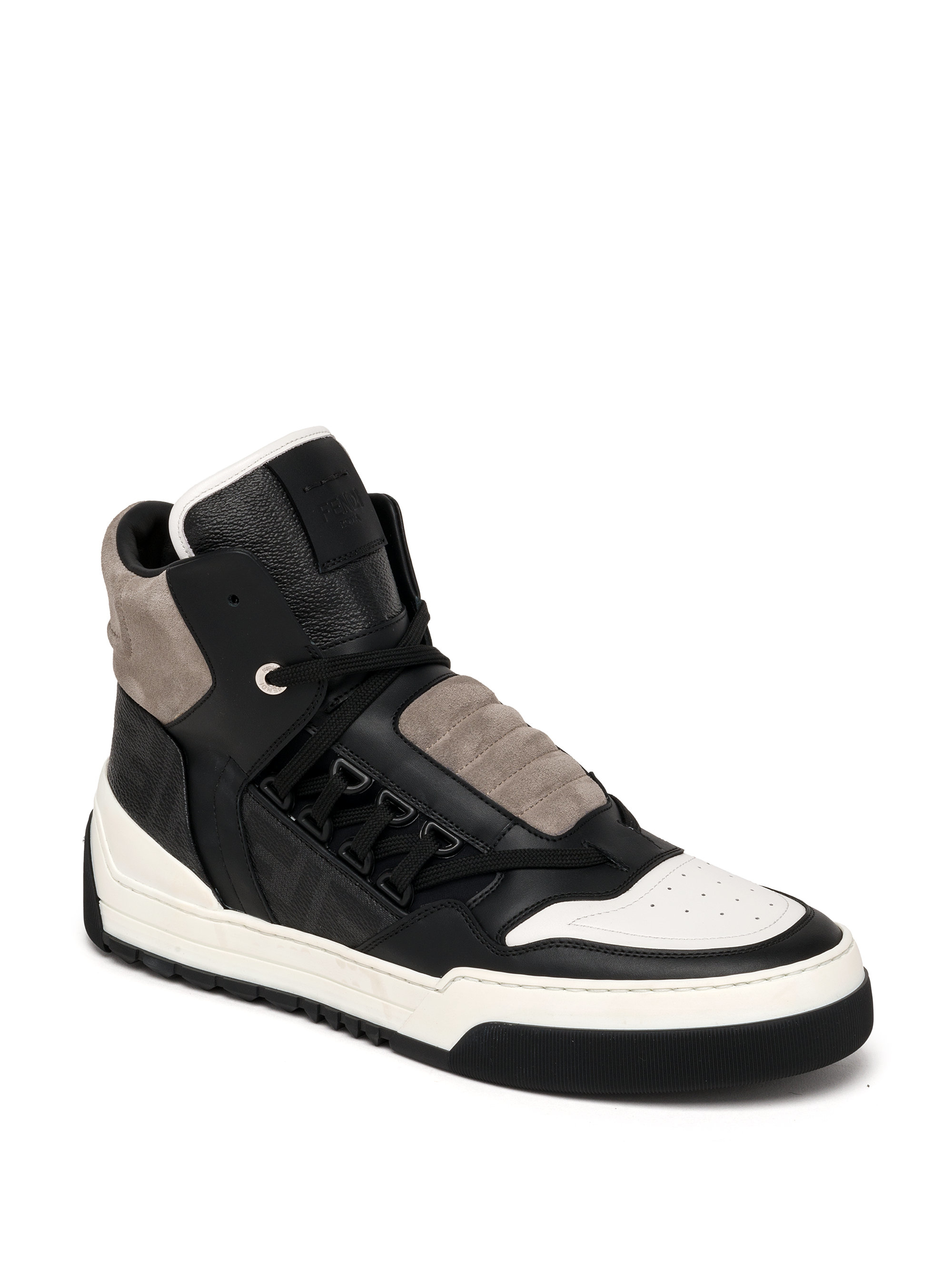 lyst fendi zucca paneled high top sneakers in black for men. Black Bedroom Furniture Sets. Home Design Ideas