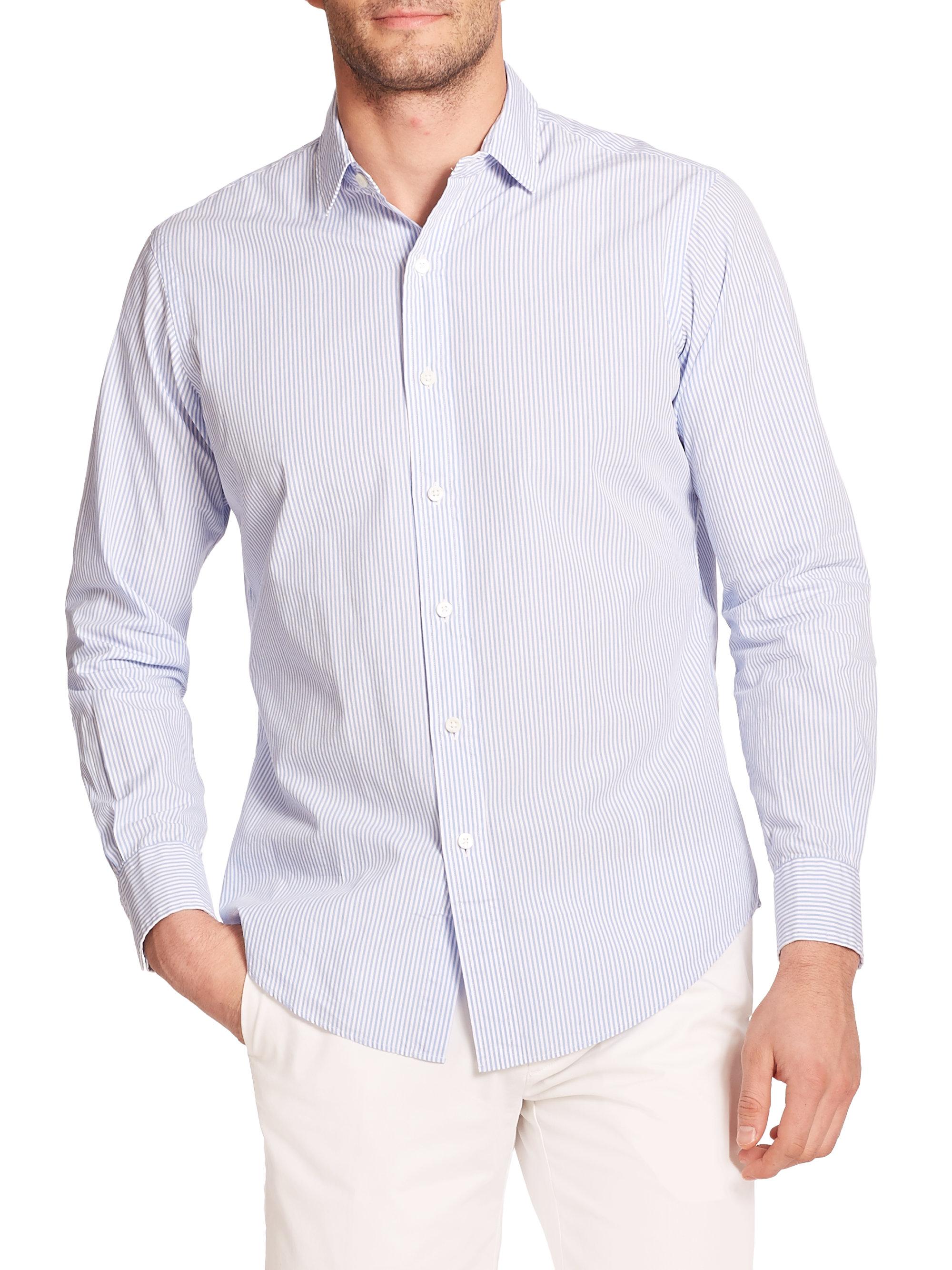 Lyst polo ralph lauren striped poplin shirt in blue for men for What is a poplin shirt