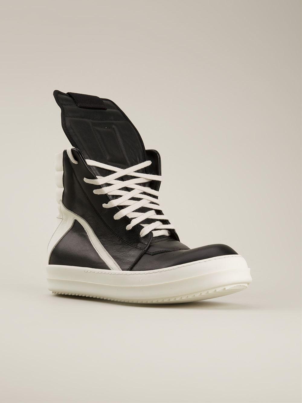 rick owens geobasket high top sneakers in black for men lyst. Black Bedroom Furniture Sets. Home Design Ideas