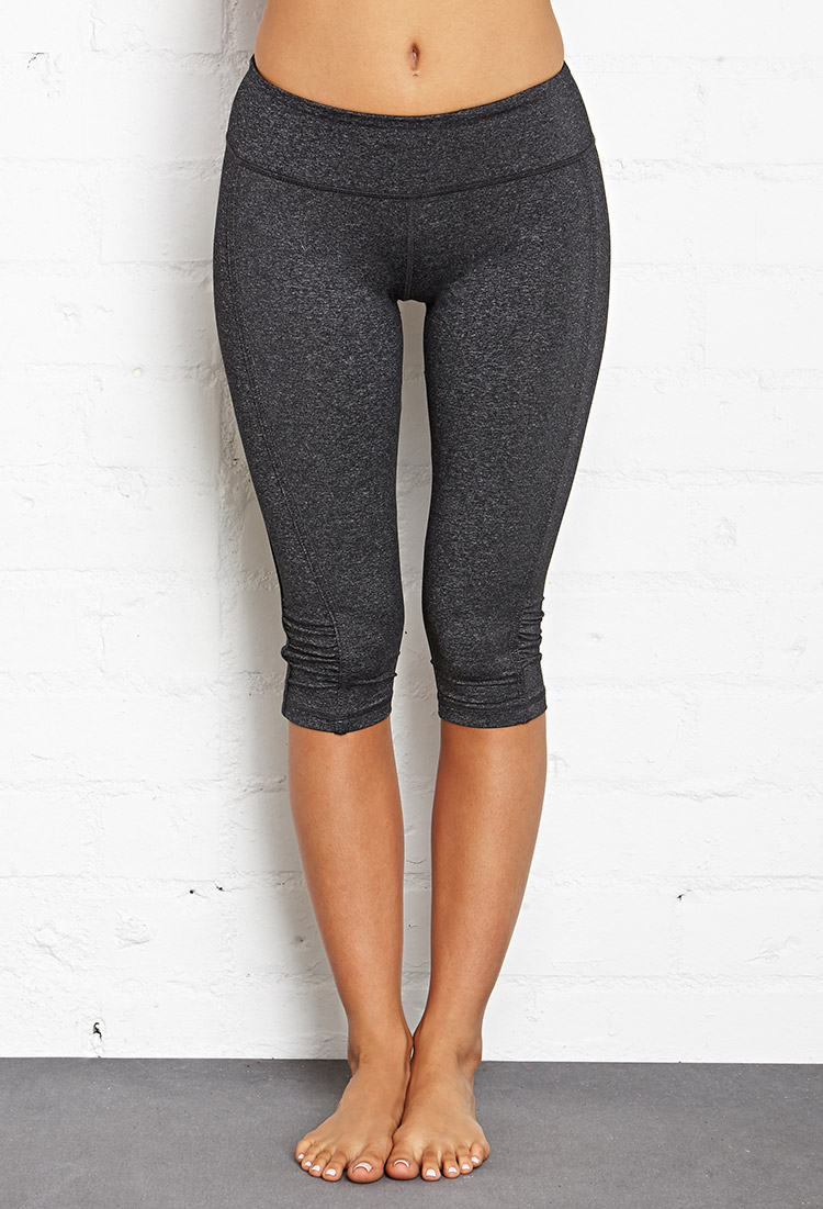 Lyst - Forever 21 Active Ruched Athletic Capris in Gray f345f3fab