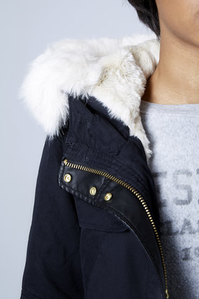 Topshop Faux Fur Lined Short Parka Jacket in Blue | Lyst