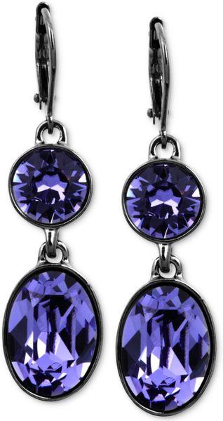 Givenchy Hematitetone Swarovski Tanzanite Crystal Double