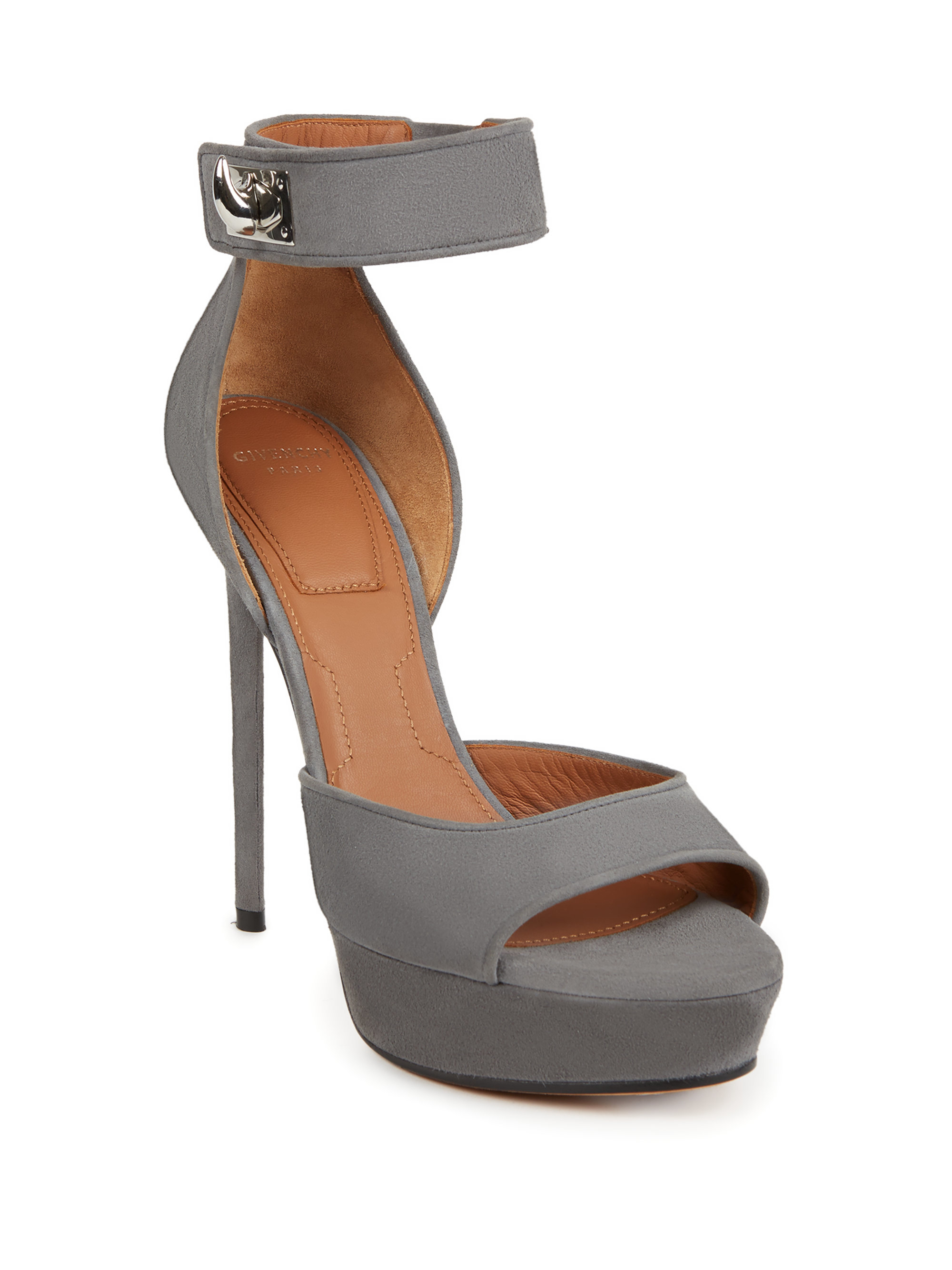 d44ff1c3a81d Lyst - Givenchy Suede Shark-lock Platform Sandals in Gray