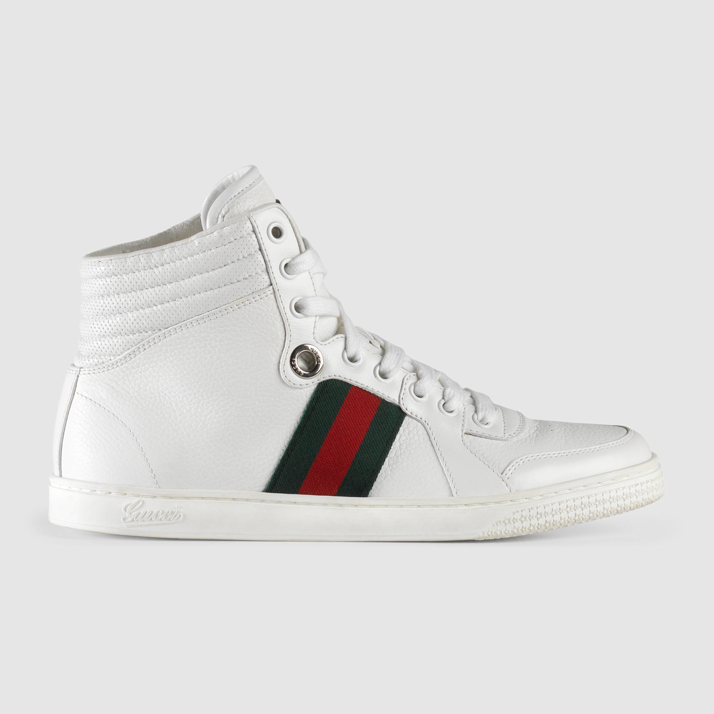 gucci high top leather sneaker in white lyst. Black Bedroom Furniture Sets. Home Design Ideas