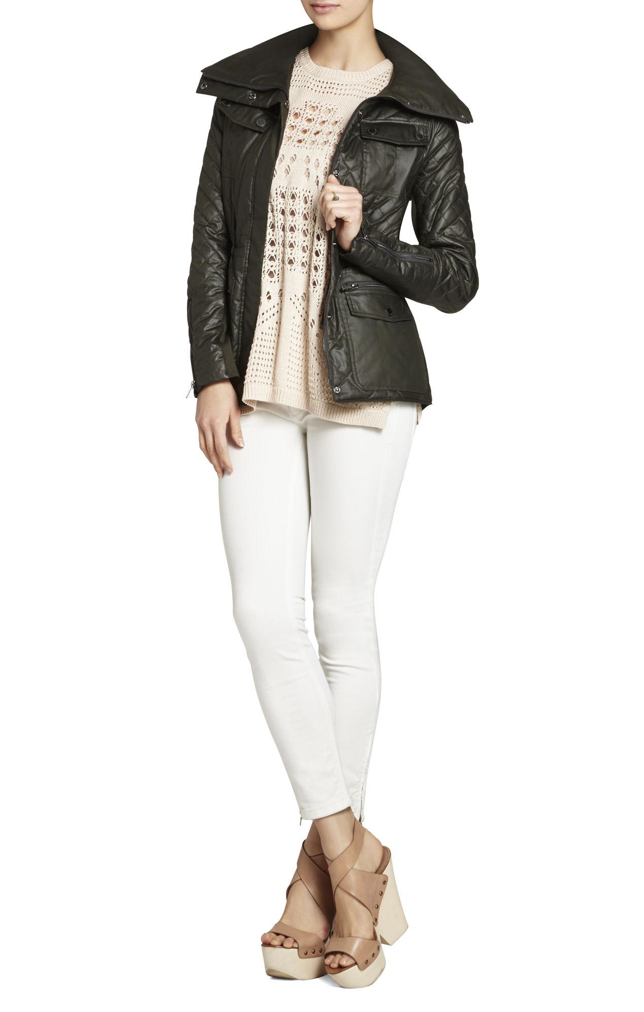 Bcbg green leather jacket