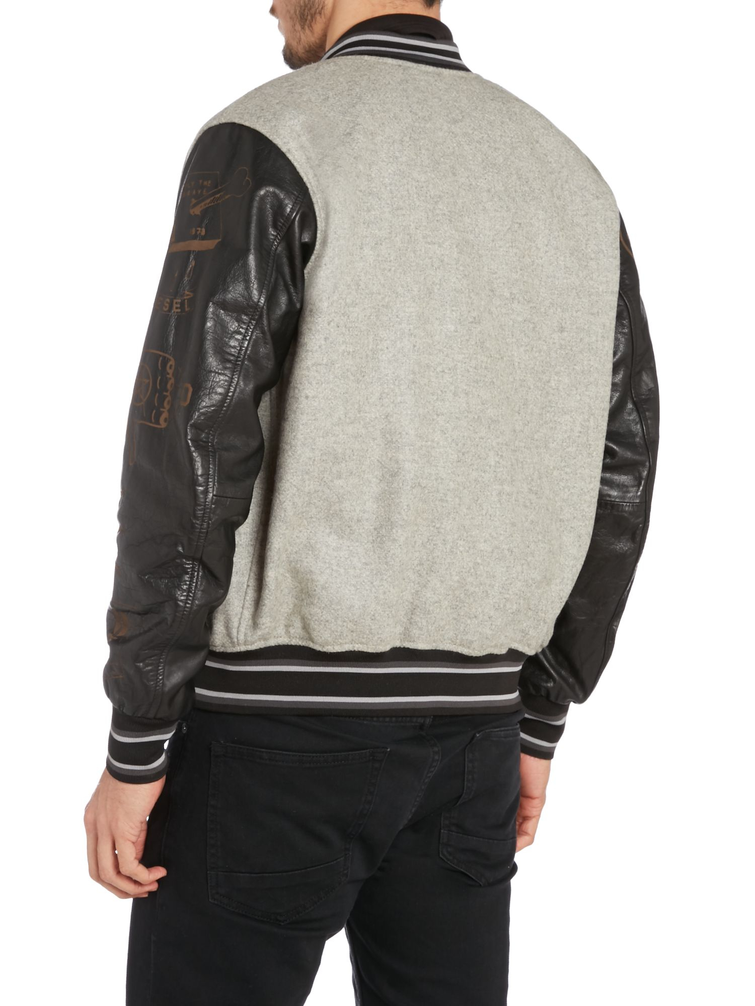 Diesel Leather Sleeve Baseball Jacket In Gray For Men | Lyst