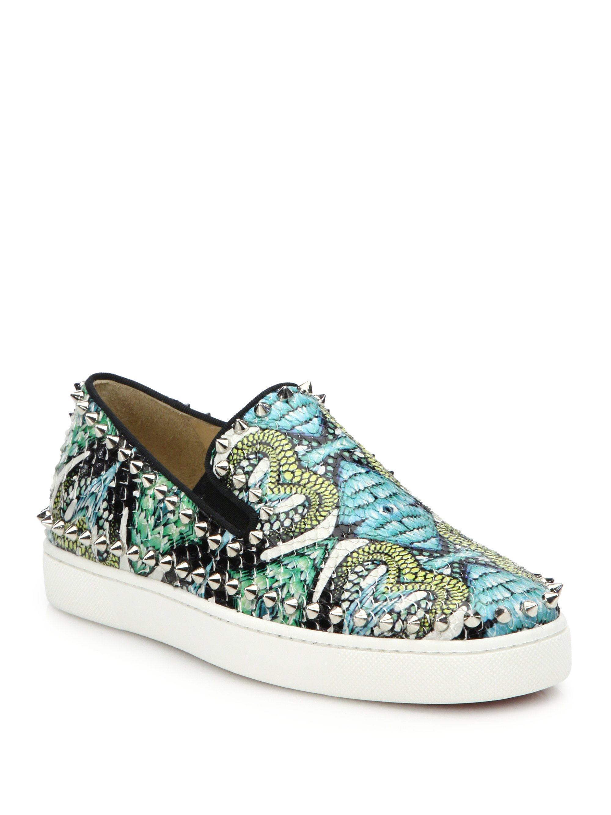 10a0fd15d62 ... coupon code lyst christian louboutin studded printed python skate  sneakers in blue f051a 4bf00