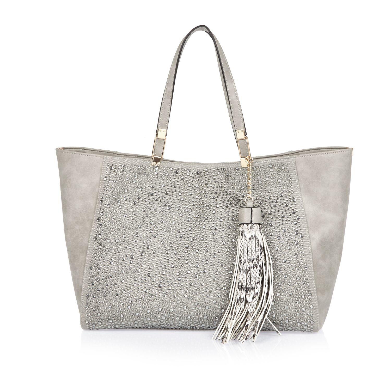 River island Grey Embellished Beach Tote Handbag in Gray | Lyst