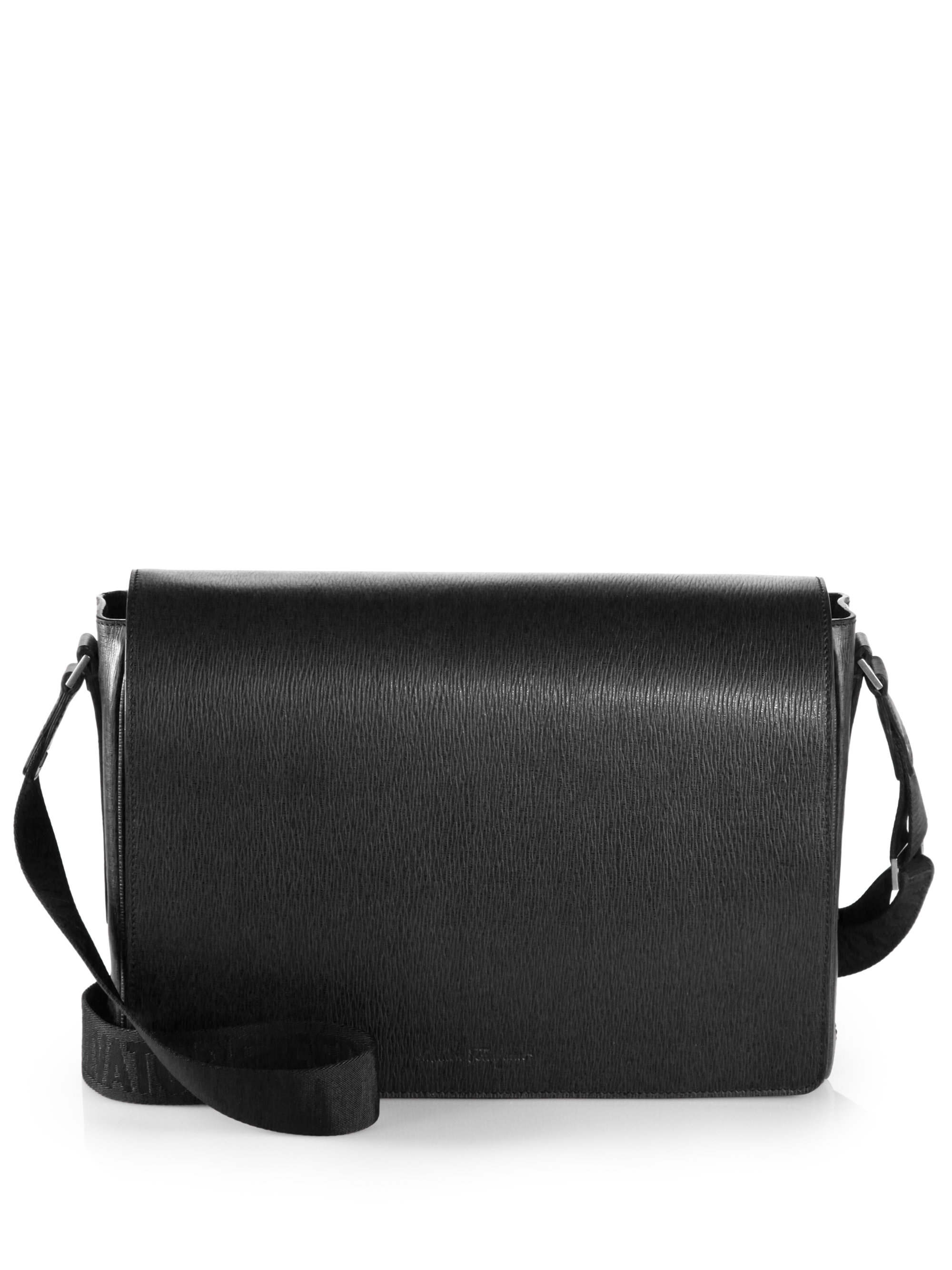 f5b3bb131b Lyst - Ferragamo Leather Messenger Bag in Black for Men