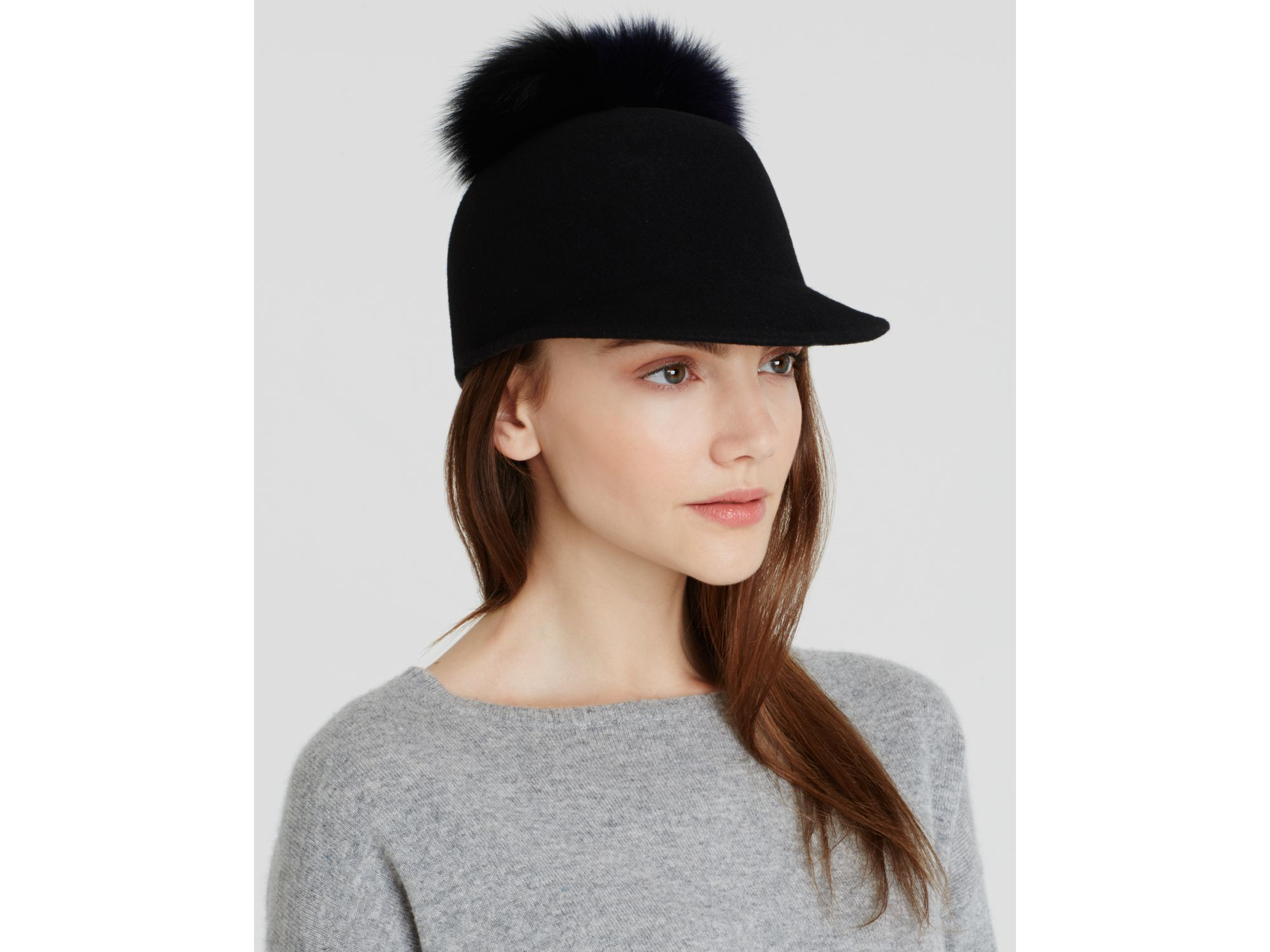 ee75c5cda Helene Berman Fox Fur Pom Pom Cap in Black - Lyst