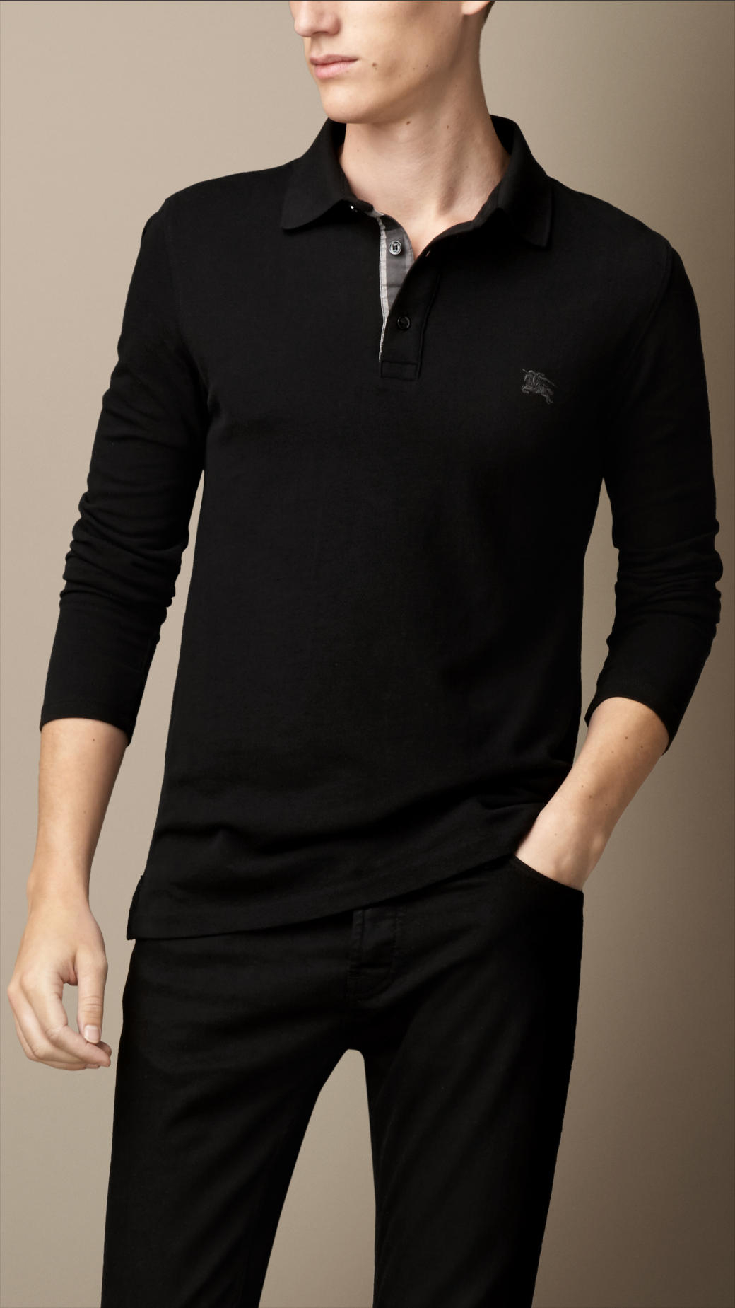 Burberry Long Sleeve Polo Shirt In Black For Men Lyst