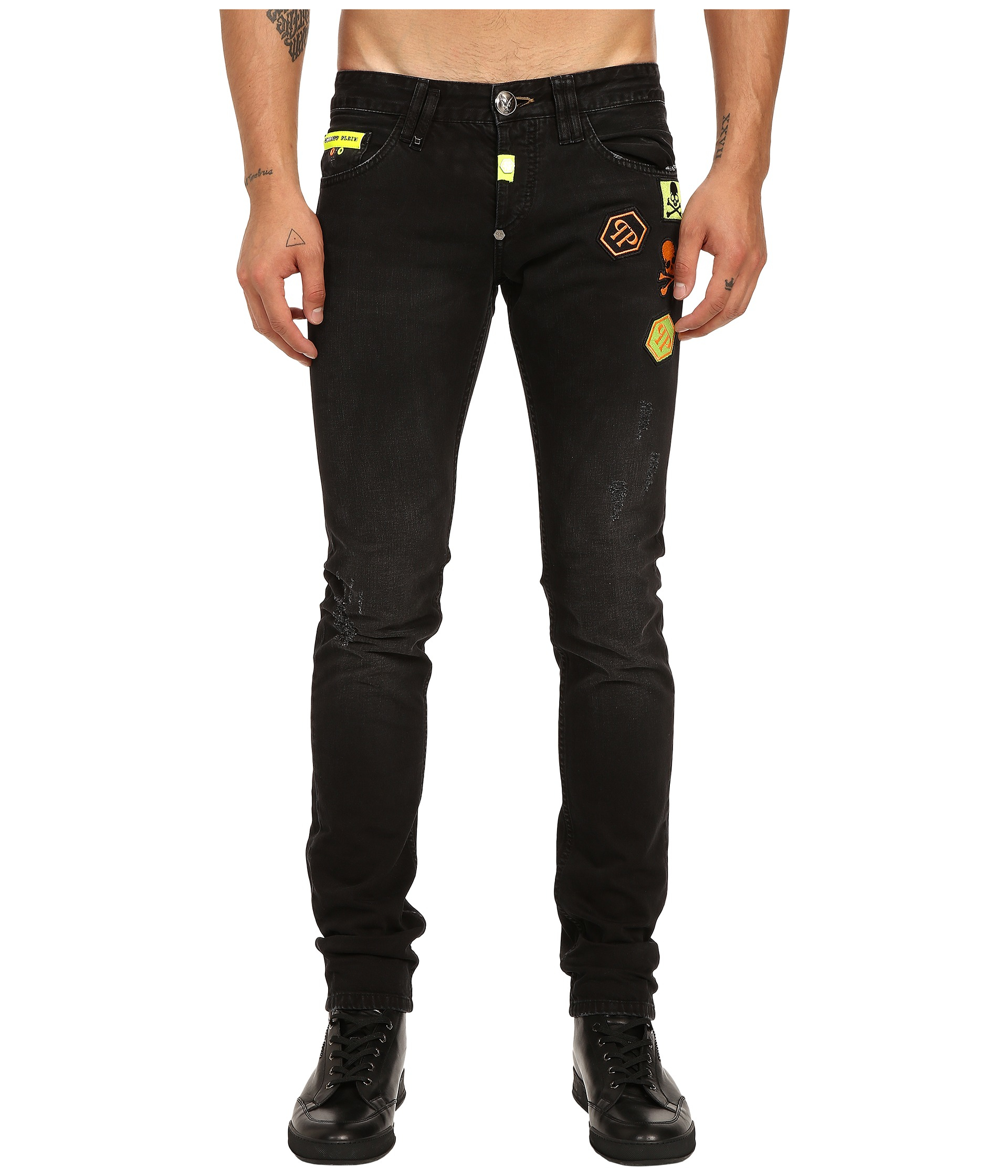 lyst philipp plein slim fit jeans in black for men. Black Bedroom Furniture Sets. Home Design Ideas