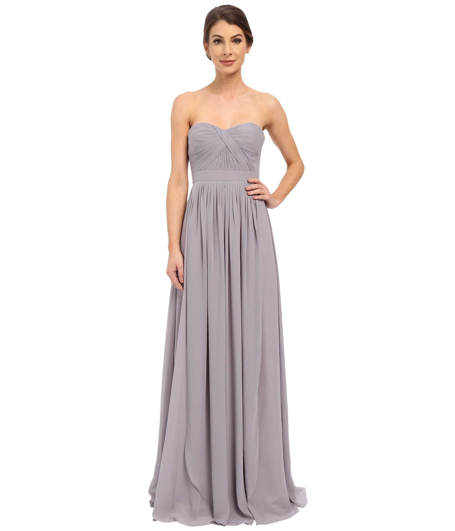 Faviana Strapless Chiffon Convertible Dress 7822 in Gray | Lyst