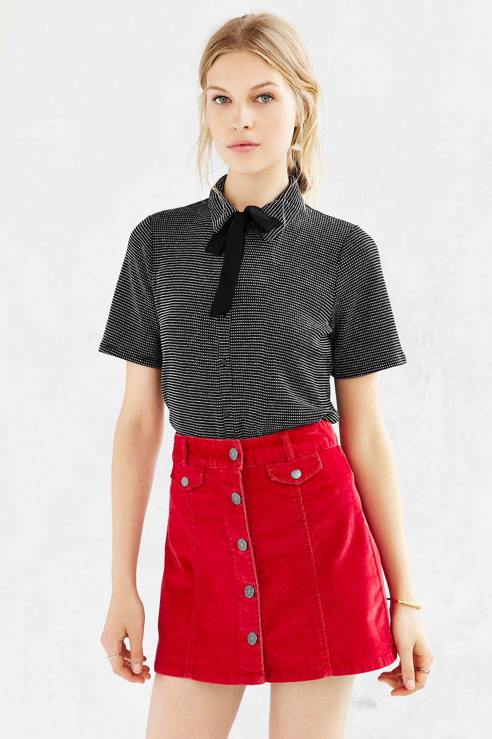 e1735d377 BDG Corduroy Button-front Mini Skirt in Red - Lyst