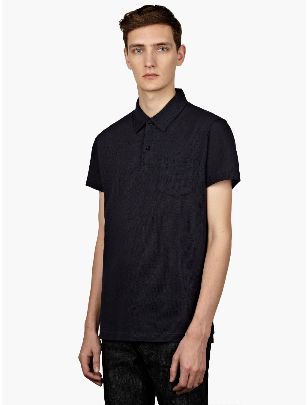 Sunspel mens navy blue riviora polo shirt in blue for men for Mens navy polo shirt