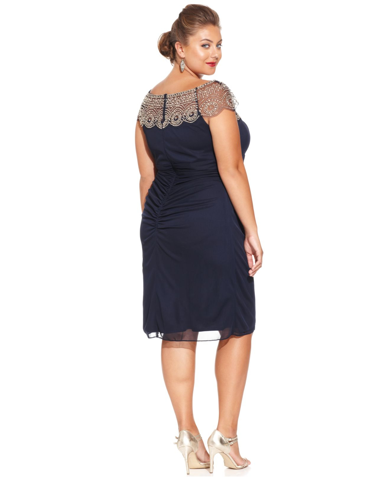 Lyst - Xscape Plus Size Cap-Sleeve Beaded Dress in Blue