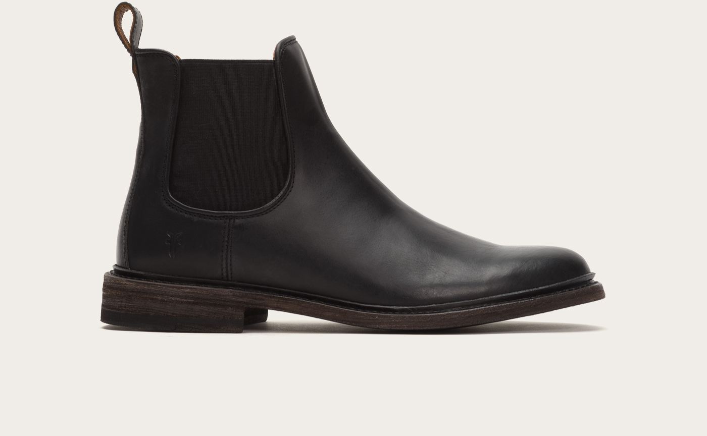 Frye James Leather Chelsea Boots in Black for Men