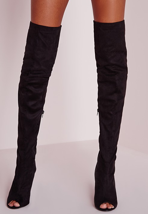 Missguided Peace   Love Over The Knee Peep Toe Boots Black in ...