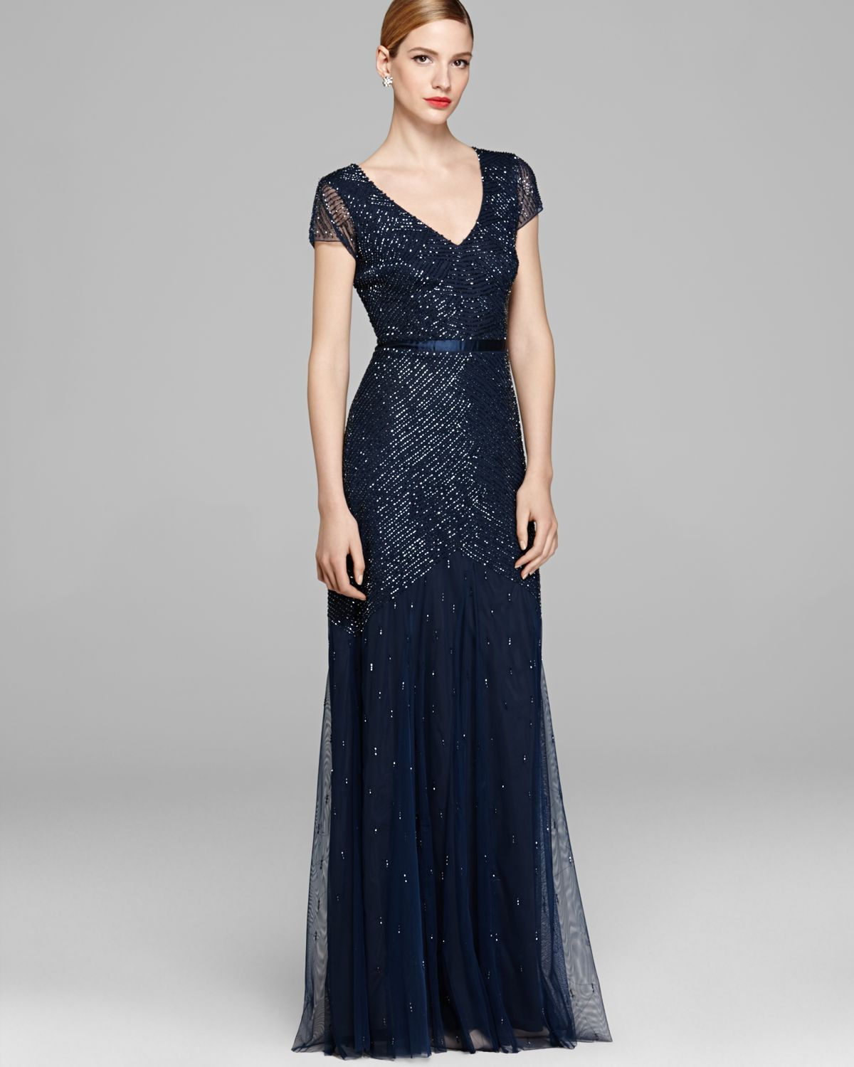 15655b4c053 Adrianna Papell Gown Cap Sleeve Beaded in Blue - Lyst