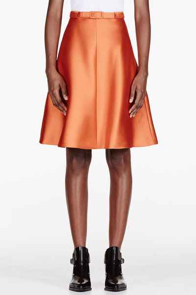 carven belted a line skirt in orange lyst