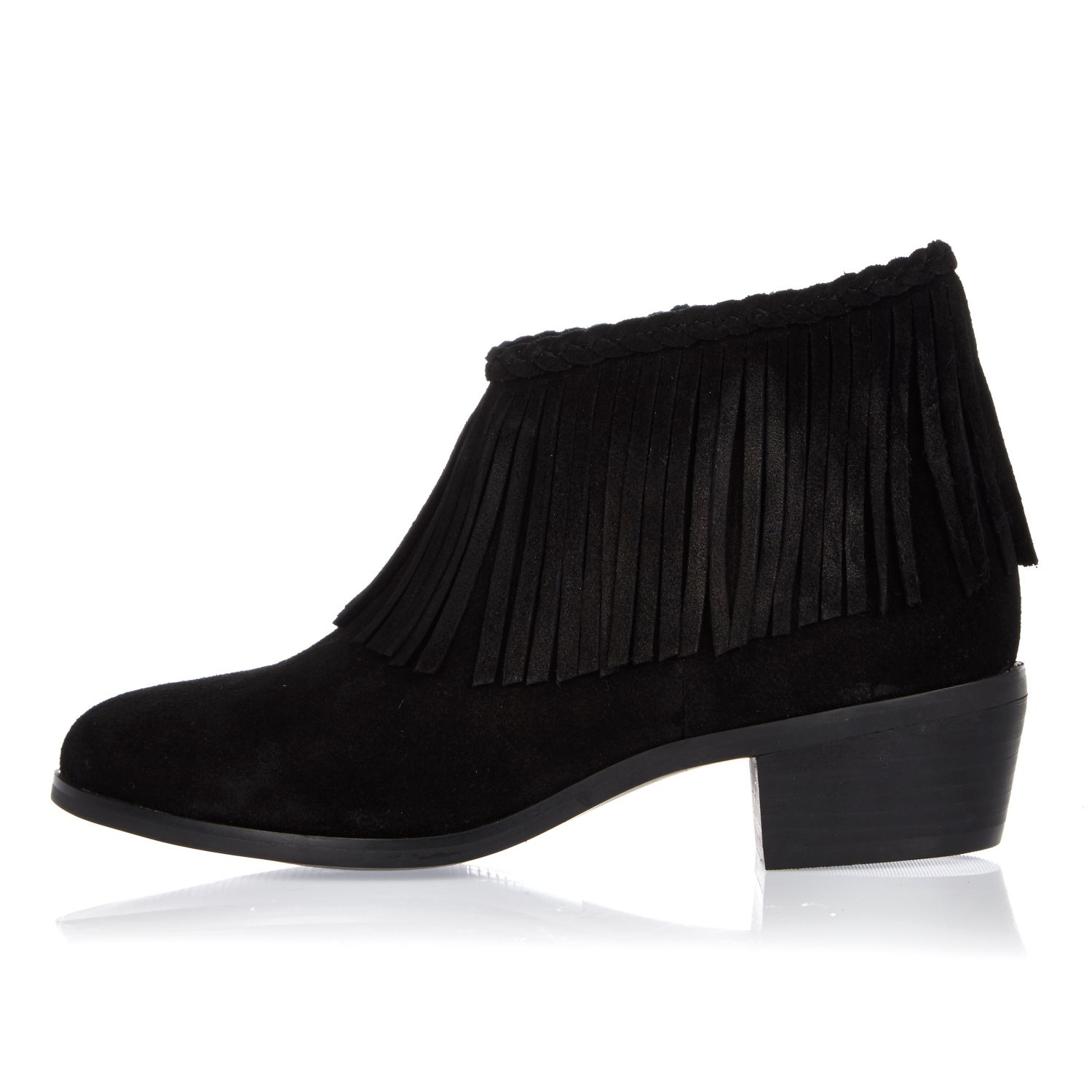 River island Black Fringed Ankle Boots in Black | Lyst