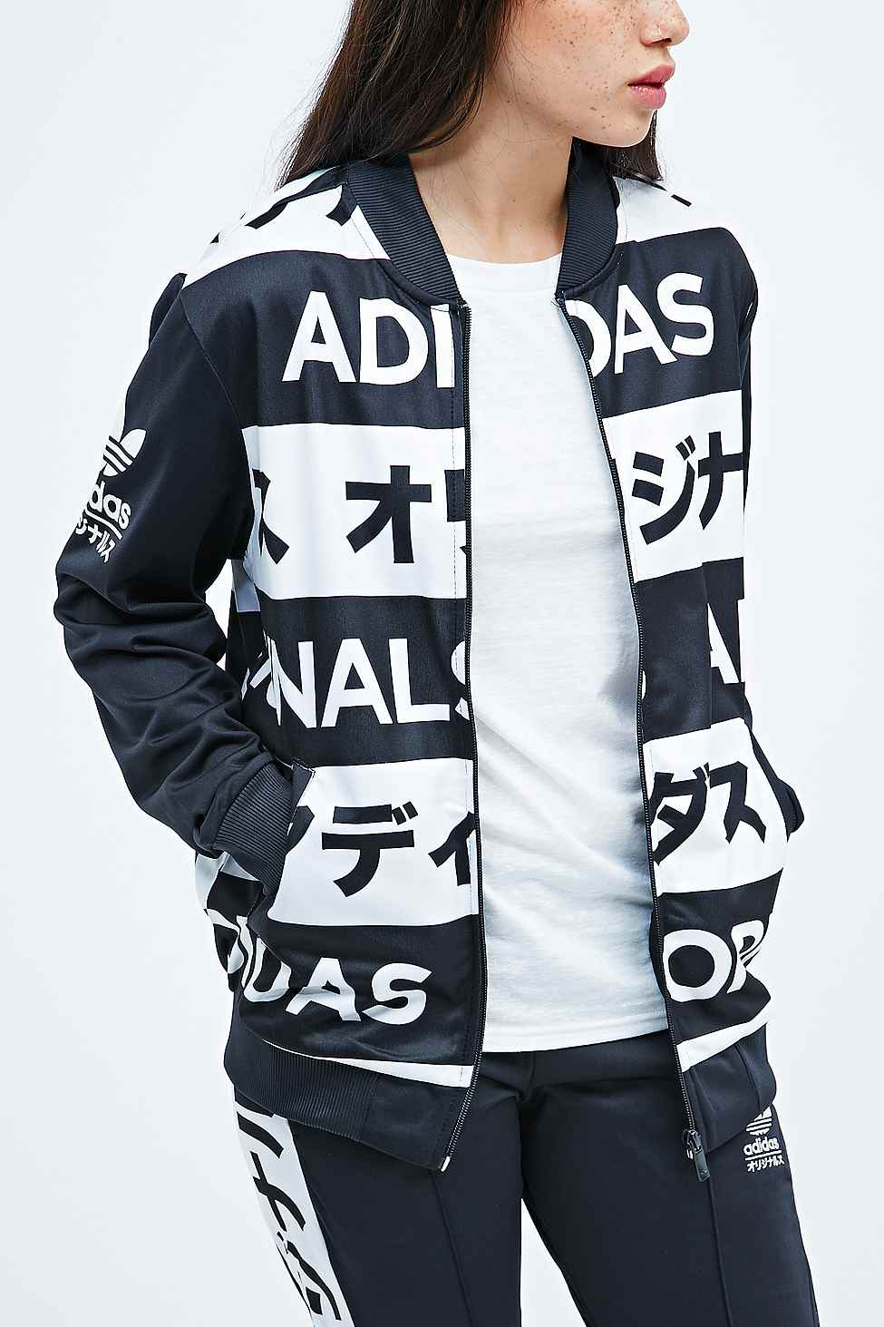 Lyst Top In Adidas White Black And Tracksuit Typo q0BwxBH4