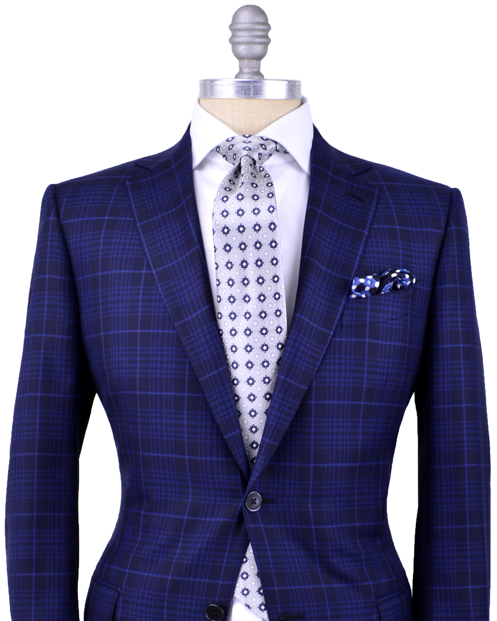 Ermenegildo Zegna Navy Plaid With Blue Windowpane