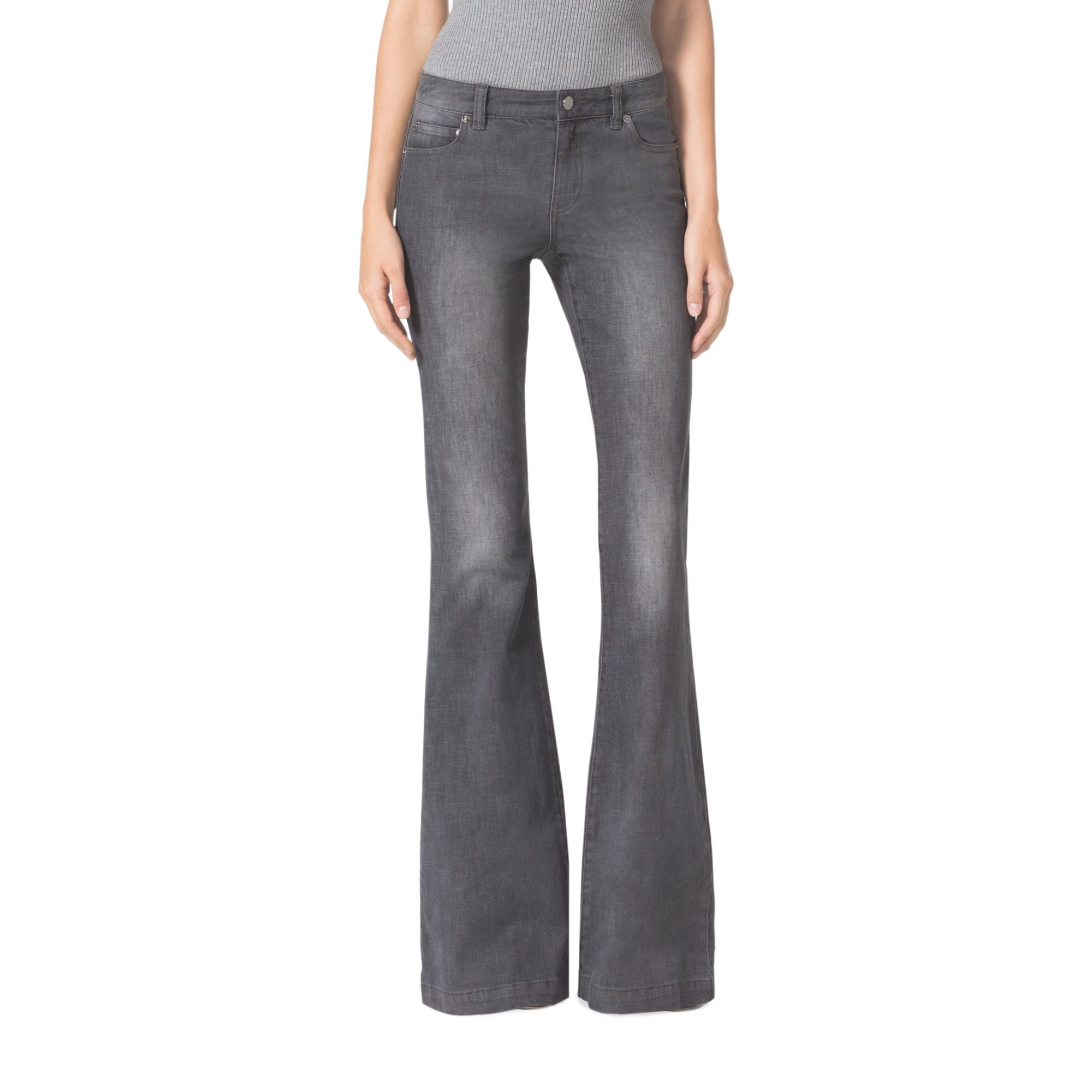 Michael kors Flared Jeans in Gray | Lyst