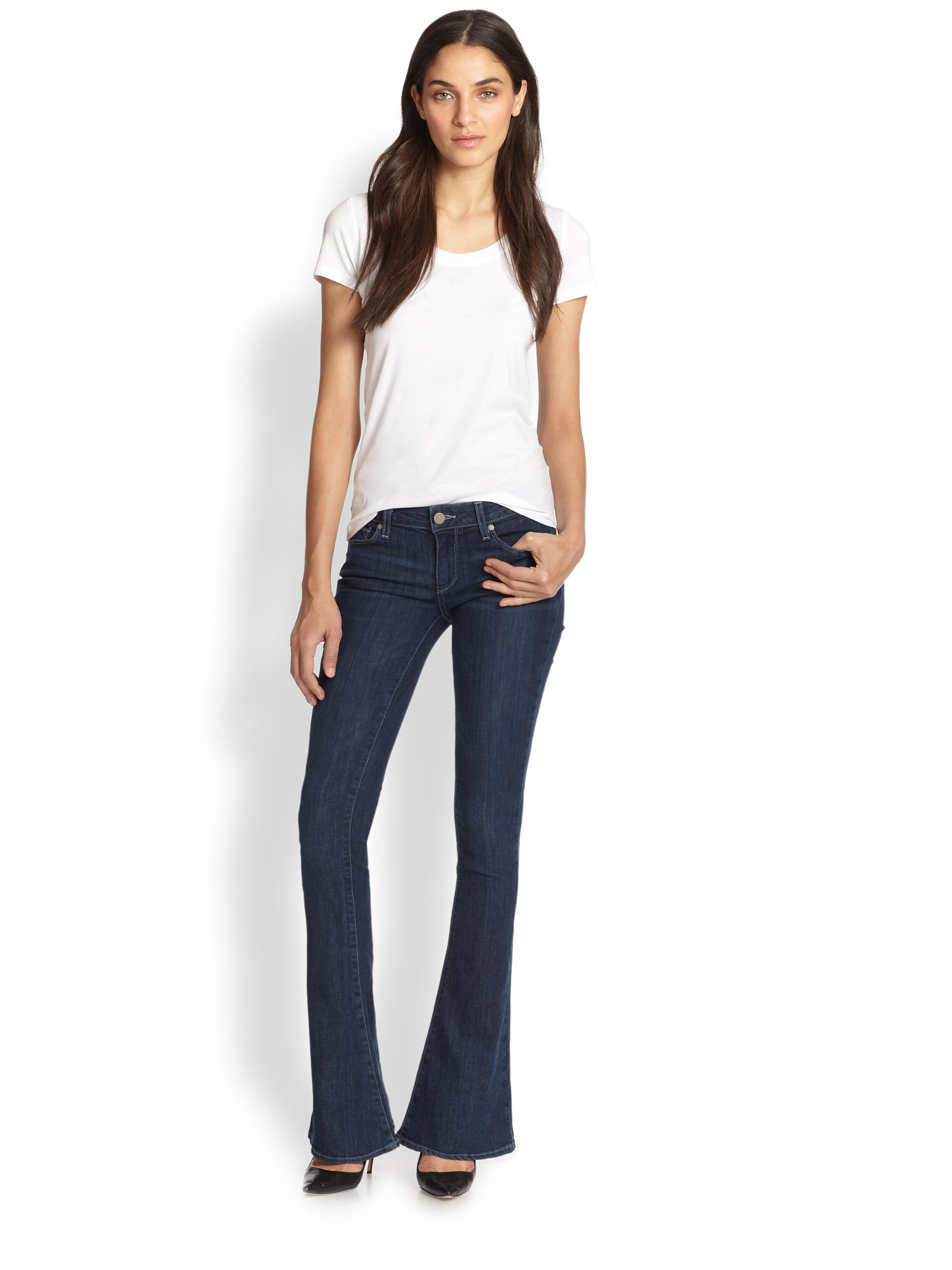 Lyst Paige Lou Lou Flare Jeans In Blue