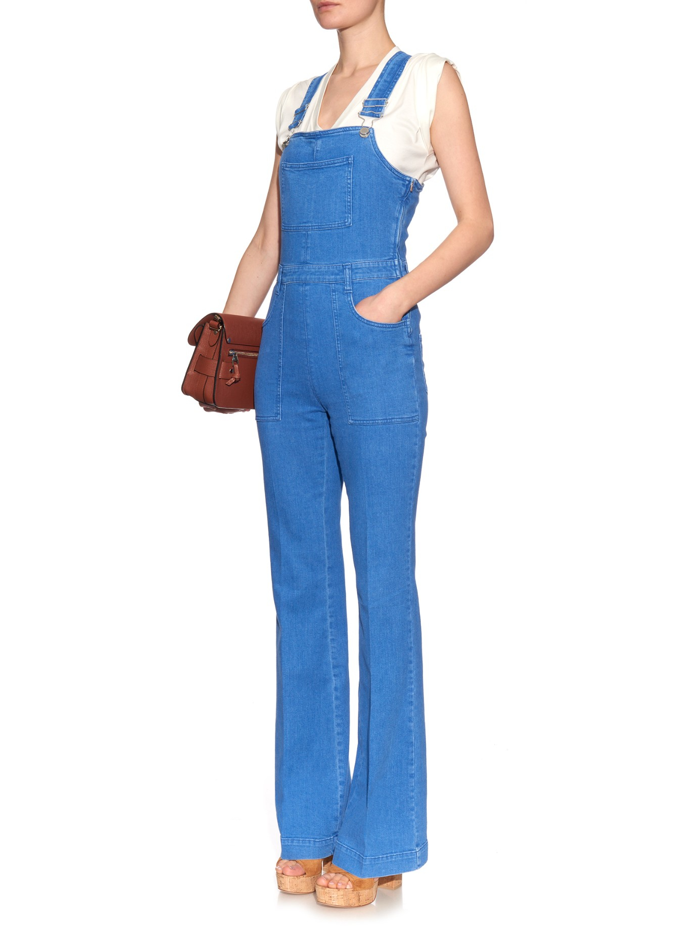 f5821cbeb19d Lyst - Stella McCartney Flared-leg Denim Dungarees in Blue