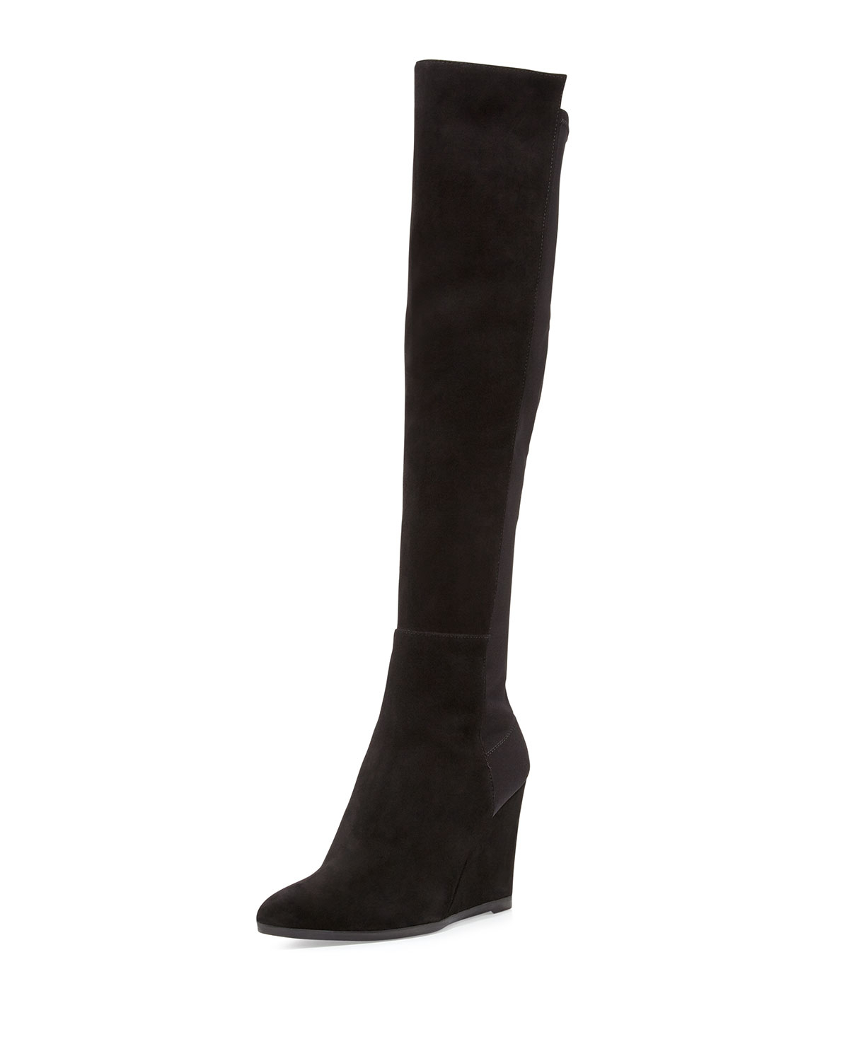 stuart weitzman demivoom suede stretch wedge boot in black