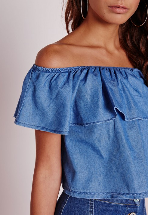 a50a41b14aa713 Lyst - Missguided Bardot Denim Top Chambray Blue in Blue
