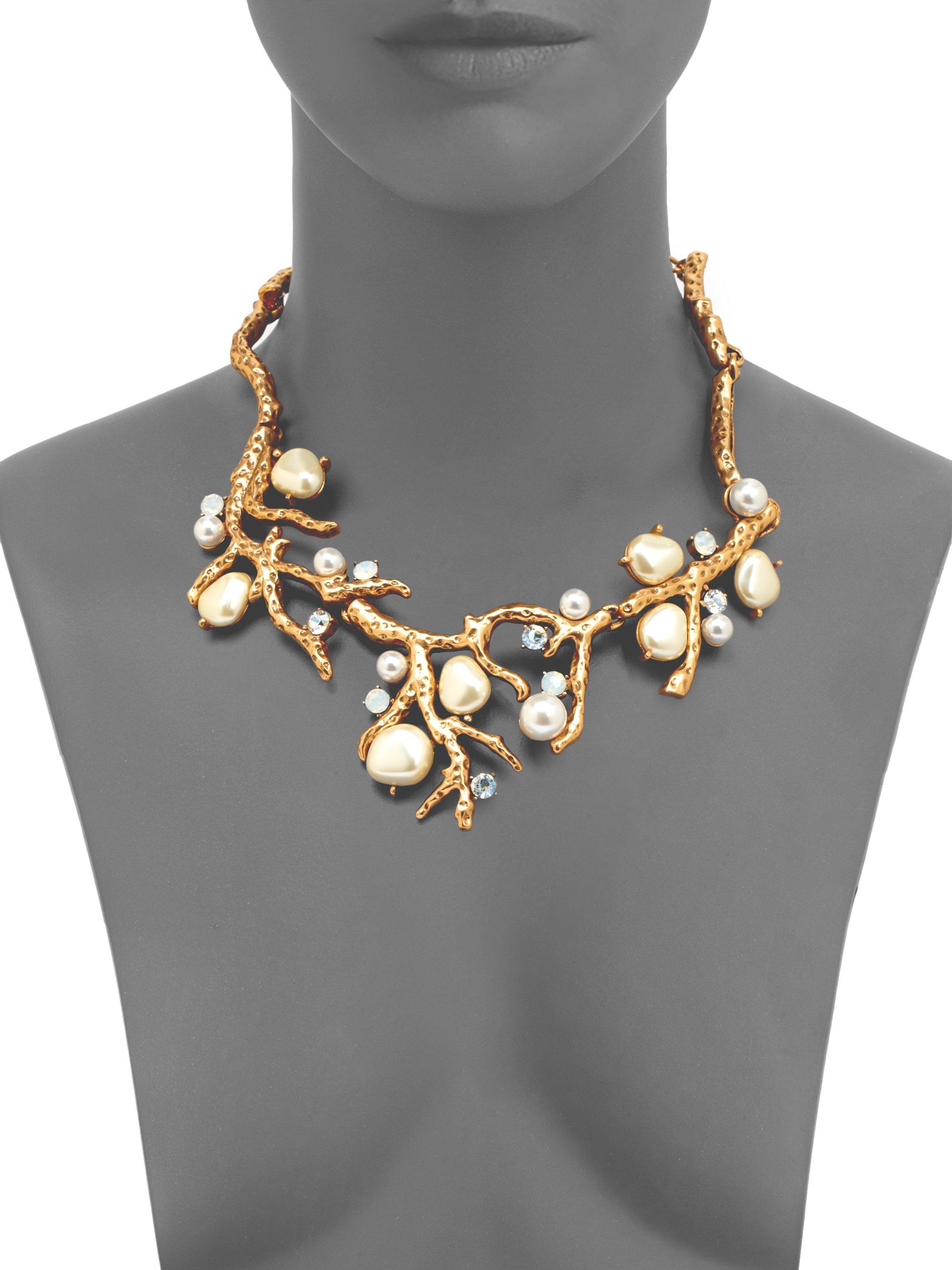Lyst - Oscar De La Renta Swarovski Crystal Faux Pearl Coral Branch Necklace in Metallic