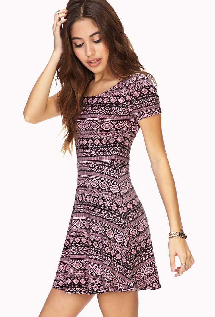c7a32f1b4ab Forever 21 Global Girl Skater Dress in Pink - Lyst