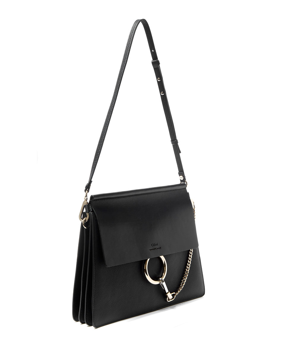 Lyst - Chloé Medium Black Faye Leather Shoulder Bag in Black 47b80ffea6