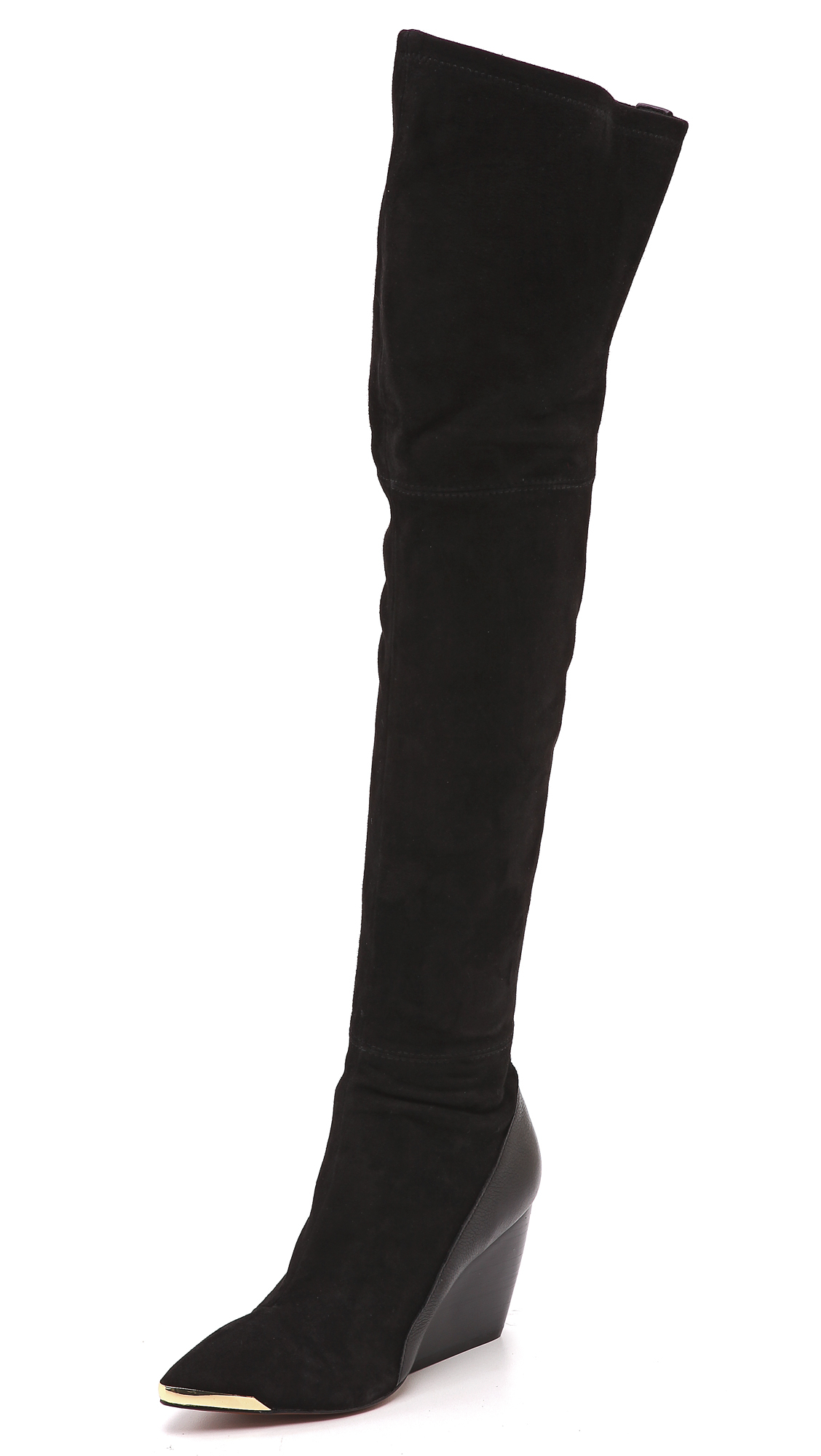 Rachel zoe Nico Over The Knee Wedge Boots Black in Black | Lyst