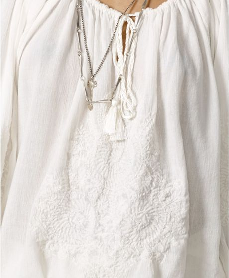 White Peasant Blouse For Sale 41